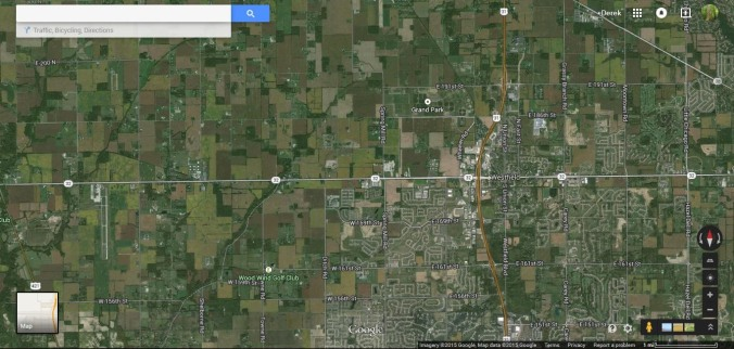 Screen shot to show the area described in the northern Suburbs of Indiana. In the East half of the photo is the ever growing town of Westfield. To the west is vast acres of agricultural land and small woodlots. Neither of the current land uses represent anything remotely similar to what was natural but we instinctively prefer to see the one more similar to what is natural.